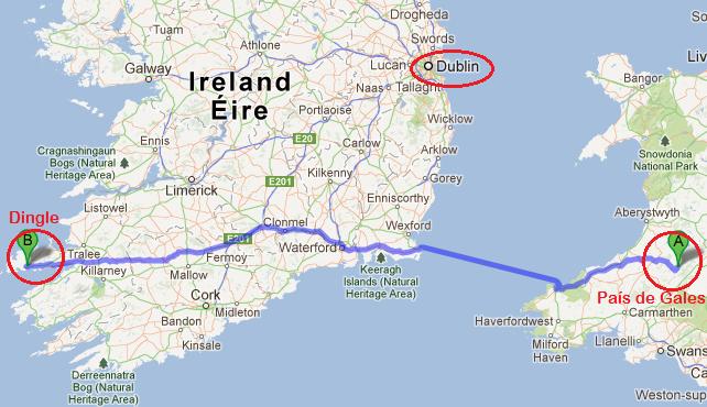 A rota que a Anna fez para chegar em Dublin.. ah tah!