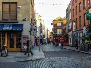 O Bairro The Temple Bar e suas ruas.
