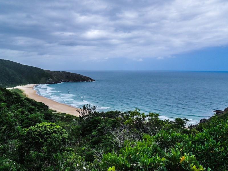 Quando a vegetação da uma brecha é possível ver a praia ainda longe.
