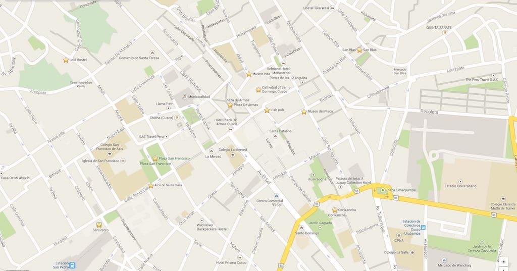 Mapa do centro histórico de Cusco e alguns pontos que visitamos