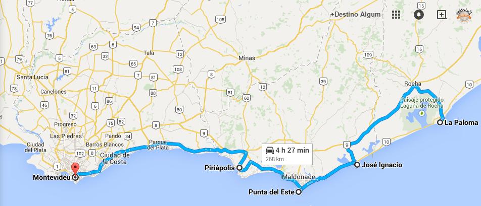 Mapa da rota de José Ignácio até Montevidéu